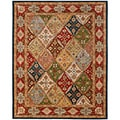 Handmade Diamonds Bakhtiari Green/ Red Wool Rug (5' x 8')