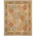 Handmade Diamonds Bakhtiari Light Blue/ Light Brown Wool Rug (5' x 8')