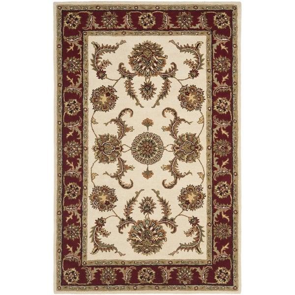 Safavieh Handmade Tabriz Ivory/ Red Wool Rug (4' x 6')