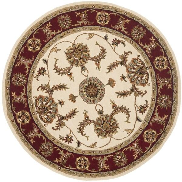 Safavieh Handmade Tabriz Ivory/ Red Wool Rug (6' Round)