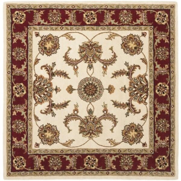 Safavieh Handmade Tabriz Ivory/ Red Wool Rug (6' Square)