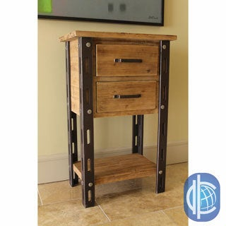 International Caravan Rustic Forge Two-drawer Tall Table