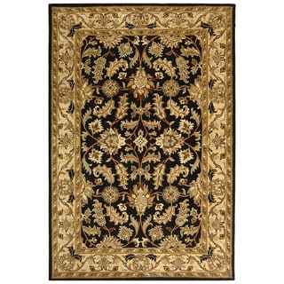 Safavieh Handmade Heritage Kashan Black/ Beige Wool Rug (9' x 12')