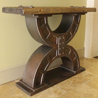 International Caravan Rustic Forge Large Double-horseshoe Console Table