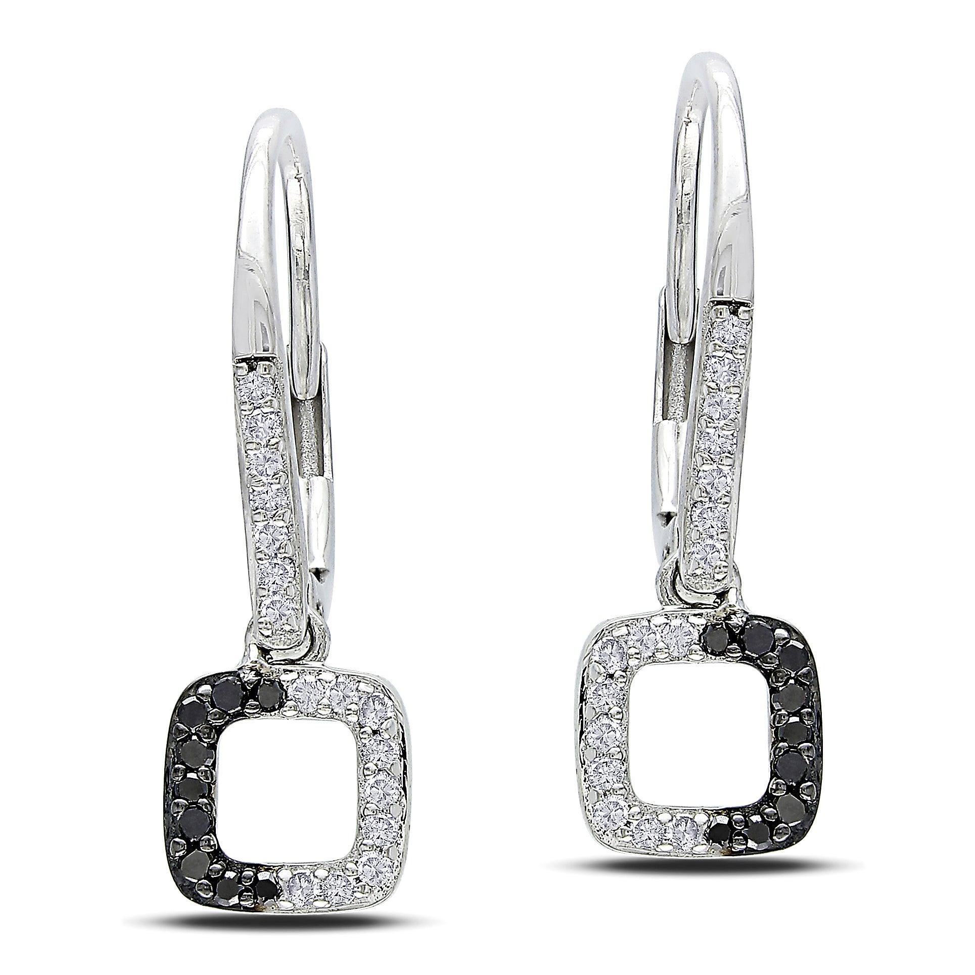 Miadora 14k White Gold 1/5ct TDW Black and White Diamond Earrings (G-H, I1-I2)
