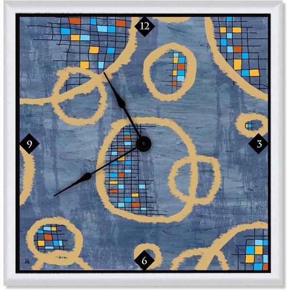 Ankan 'Circles on Blue' Clock Art