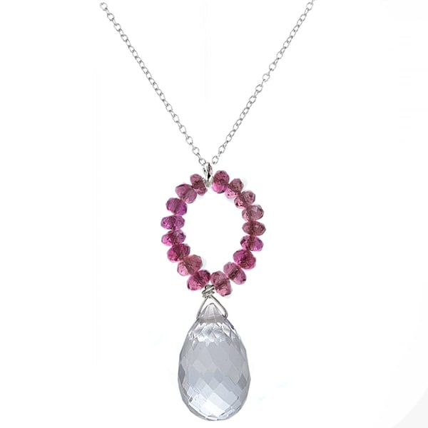 Ashanti Sterling Silver Pink Tourmaline and Crystal Briolette Pendant Necklace (Sri Lanka)