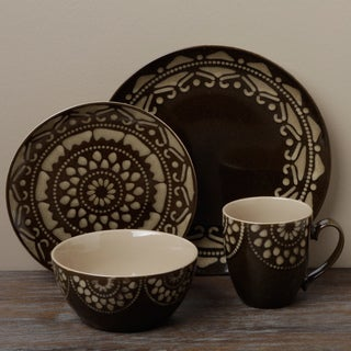 Tabletop Gallery 'Morocco' Brown 16-piece Dinnerware Set