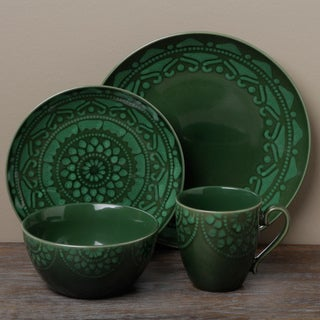 Tabletops Unlimited Morocco Green 16-piece Dinnerware Set