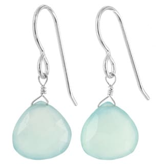 Ashanti Aqua Chalcedony Gemstone Briolette Dangle Sterling Silver Earrings (Sri Lanka)