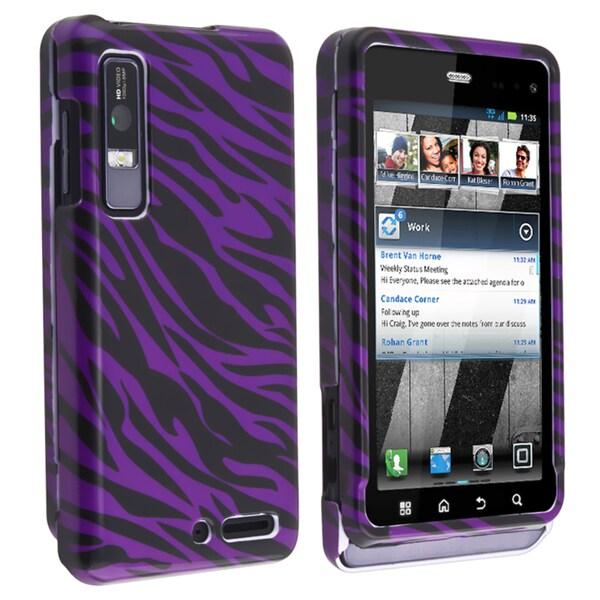 BasAcc Plum/ Black Zebra Snap-on Case for Motorola Droid 3 XT862