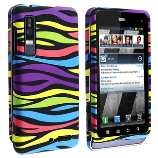 BasAcc Rainbow Zebra Snap-on Case for Motorola Droid 3 XT862