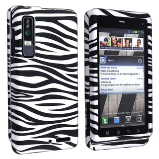 BasAcc Black/ White Rubber Coated Case for Motorola Droid 3 XT862