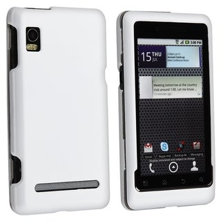 BasAcc White Snap-on Rubber Coated Case for Motorola A955 Droid 2