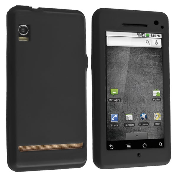 BasAcc Black Silicone Skin Case for Motorola A855 Droid