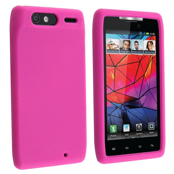INSTEN Hot Pink Soft Silicone Skin Phone Case Cover for Motorola Droid Razr XT910