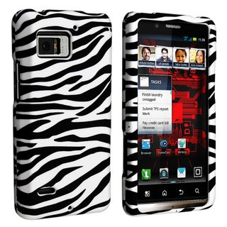 BasAcc Black/ White Rubber Coated Case for Motorola Droid Bionic XT875