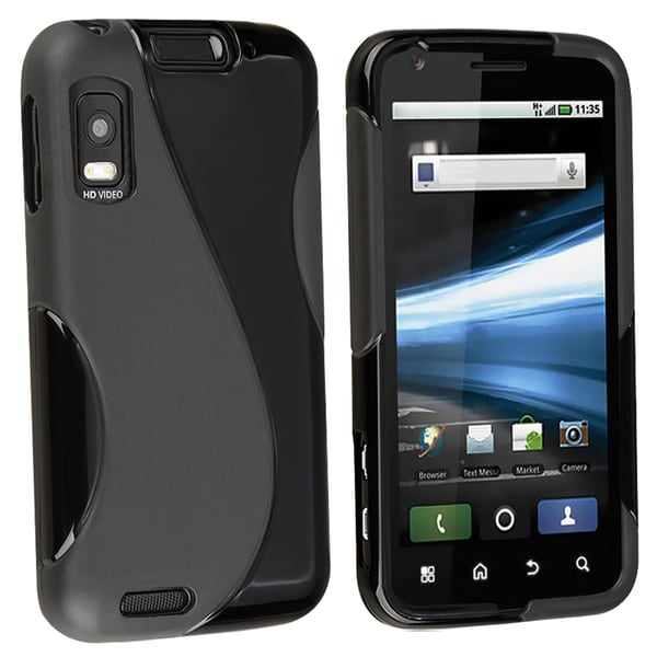 INSTEN Black TPU Rubber Skin Phone Case Cover for Motorola Atrix 4G MB860