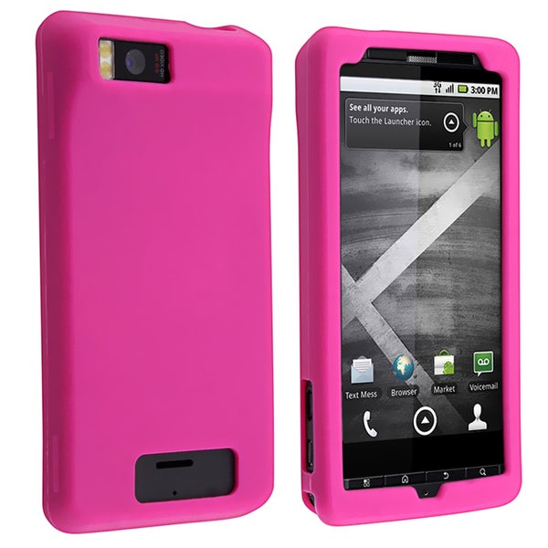 INSTEN Hot Pink Soft Silicone Skin Phone Case Cover for Motorola Droid Xtreme MB810