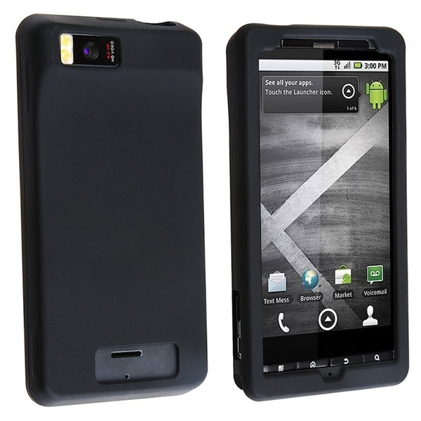 INSTEN Black Soft Silicone Skin Phone Case Cover for Motorola Droid Xtreme MB810