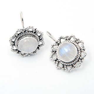 Handmade Sterling Silver Rainbow Moonstone Earrings (India)