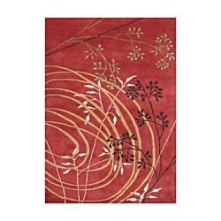 Alliyah Handmade Poppy Red New Zealand Blend Wool Rug (9' x 12')