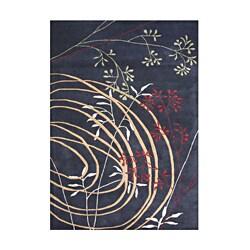 Alliyah HandmadeBlack New Zealand Blend Wool Rug (6x9)