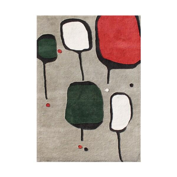 Alliyah Handmade Gray New Zealand Blend Wool Rug (5' x 8')