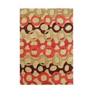 Alliyah Handmade Russet Brawn New Zealand Blend Wool Rug (5' x 8')