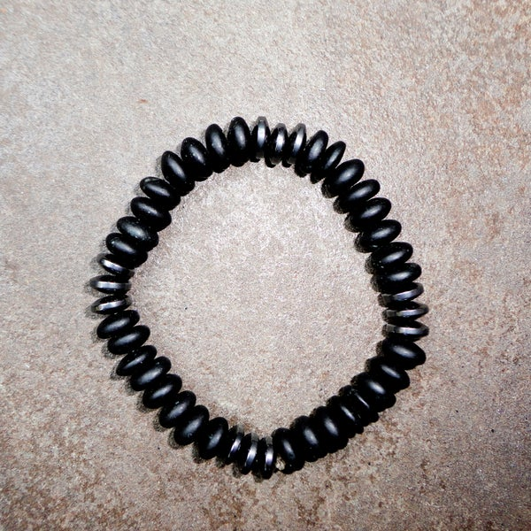 Pavcus Designs Matte Black Stone and Hematite Gemstone Stretch Bracelet