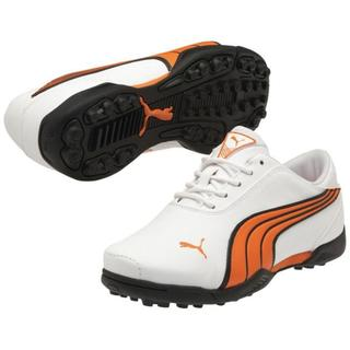 Junior Puma White / Vibrant Orange / Smoke Super Cell Fusion Ice Jr Golf Shoes