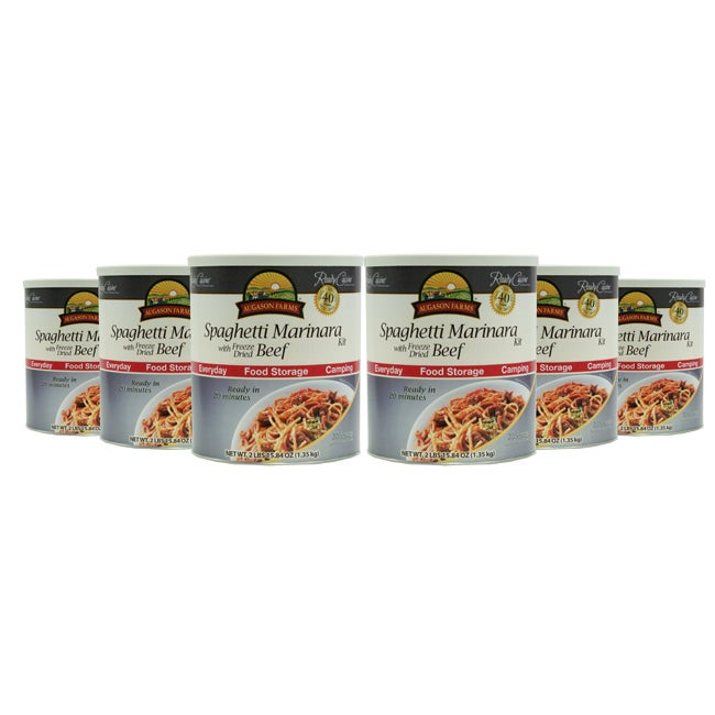 Augason Farms Spaghetti Marinara with Freeze Dried Beef (Pack of 6)