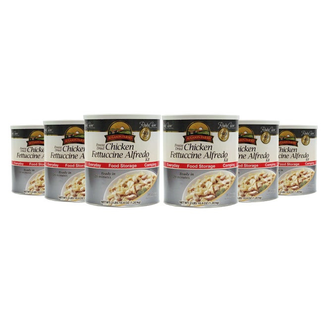 Augason Farms' Freeze Dried Chicken Fettuccine Alfredo (Pack of 6)