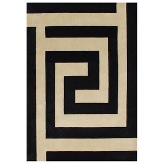 Alliyah Handmade Metro Black New Zealand Blend Wool Rug 9' x 12'