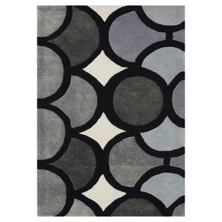 lliyah Handmade Grey Geometric New Zealand Blend Wool Rug 9' x 12'
