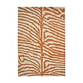 Alliyah Handmade Orange/ Off-white Zebra Pattern New Zealand Blend Wool Rug (9' x 12')