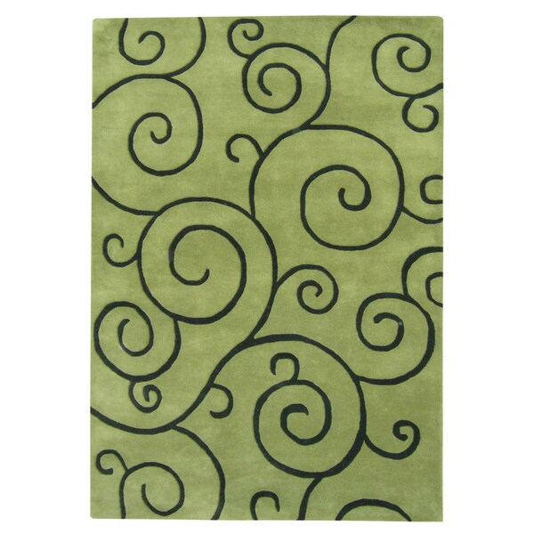Alliyah Handmade Hand-tufted Lime Green with Black Mehendi Pattern New Zealand Blend Wool Rug (9' x 12')