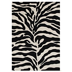 Alliyah Hand Made Tufted Safari Black Made In New Zealand Blend Wool Rug 9' x 12'