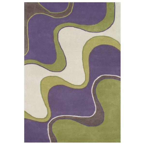 Alliyah Hand Made Tufted Large Waves Purple Wool Rug 9' x 12'