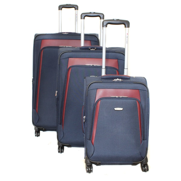 Dejuno Alliance Navy 3-piece Expandable Spinner Luggage Set