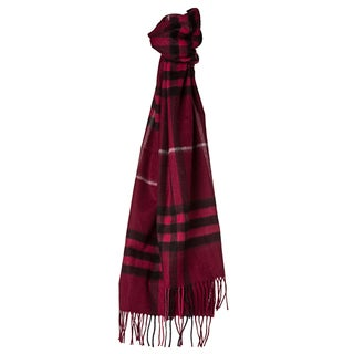 Burberry 3826553 Giant Check Burgundy Cashmere Scarf