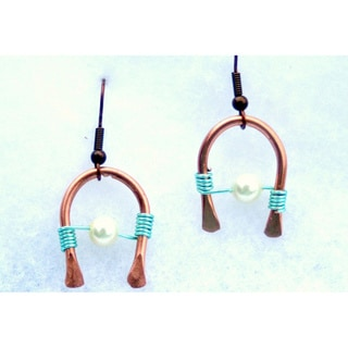My Three Metals Horseshoe Copper Earrings