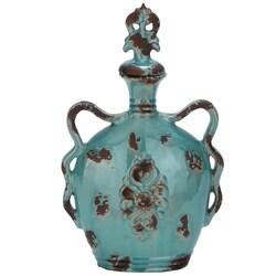 Casa Cortes Crete 18-inch Turquoise Ceramic Jar Vase