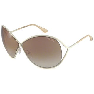 Tom Ford Women's TF0131 Lilliana Ivory/Brown-Gradient Oversize Sunglasses