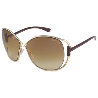 Tom Ford Women's TF0155 Emmeline Rectangular Sunglasses with Metal Frame