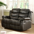 Buxton Black Bonded Leather Loveseat