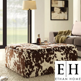 ETHAN HOME Decor Brown White Cow Hide Storage Ottoman