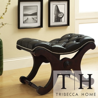 TRIBECCA HOME Imperial Dark Brown Bench with Nailhead Detail