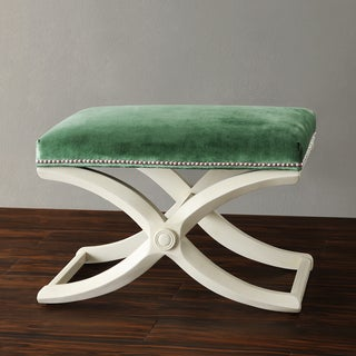 TRIBECCA HOME Imperial Green Velvet Bench with Nailhead Detail