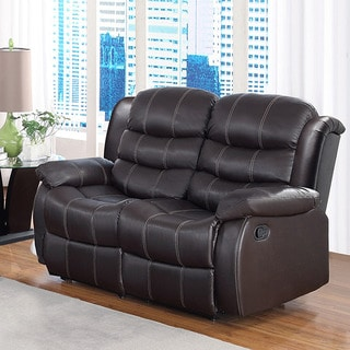 Buxton Brown Bonded Leather Loveseat